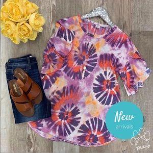 Women's Plus 3X Tie Dye Top w/ Ruffle Sleeve ~ NEW
